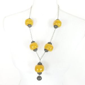 Boho Large Butterscotch Beaded Necklace